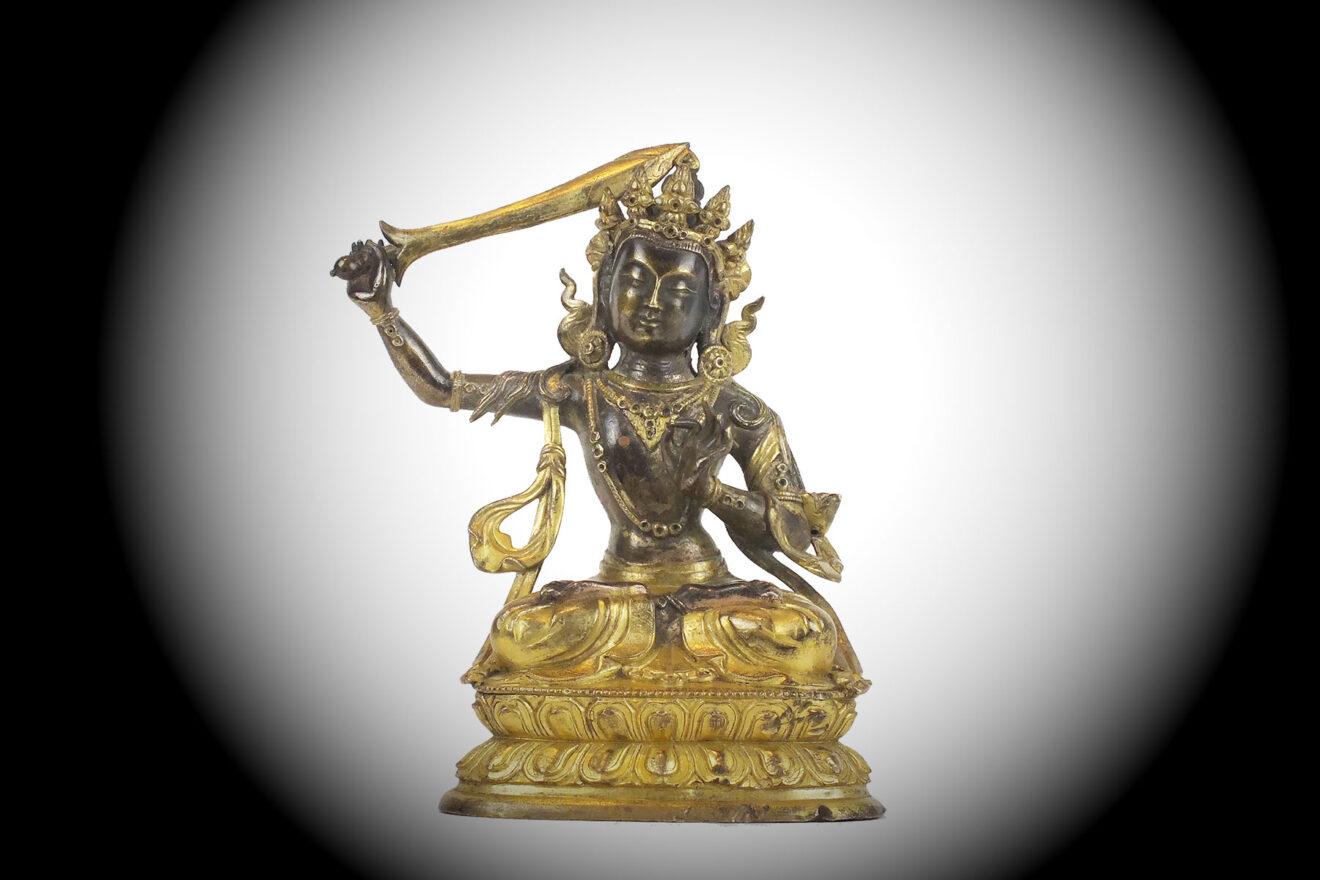 Chinese Gilt-Bronze Mangushri (1)