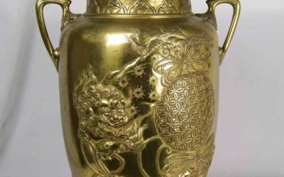 A LARGE AND IMPRESSIVE GILT-BRONZE TWO-HANDLE OVOID VASE