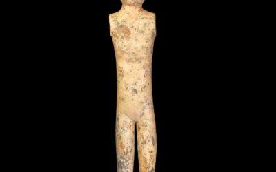 A Han Dynasty Grey Pottery Stick Lady