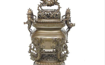 THREE PART BRONZE CENSER WITH BAMBOO DECORATION