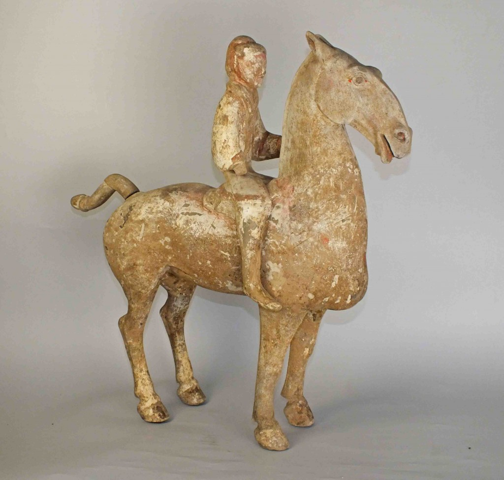 Han Dynasty Large Grey Pottery Figure of a Horse and Rider