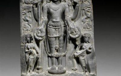 Black Stone Stele Depicting the Four-Armed Vishnu