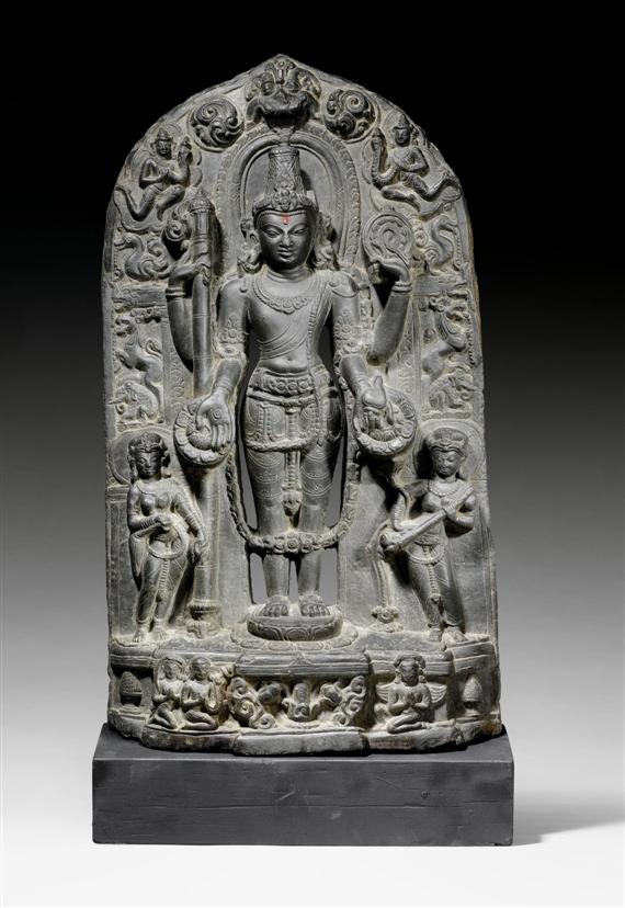 Black Stone Stele Depicting the Four-Armed Vishnu