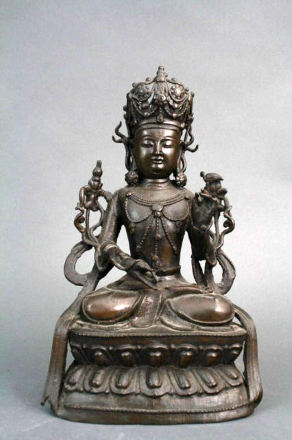 Chinese Bronze Figure - Seated Manjushri