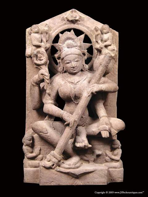 Small Red Sandstone Stele of Saraswati