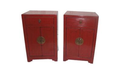 Pair Chinese Square-corner cabinets