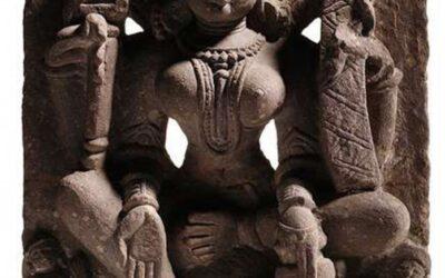 Red Sandstone Stele Depicting Brahmi