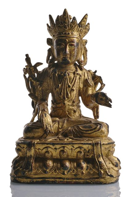 GILT LACQUERED BRONZE FIGURE GUANYIN