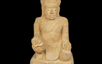 Rare Stone Khmer Figure Vishvakarman
