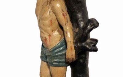 Polychrome Carved Wood Figure Saint Sebastian
