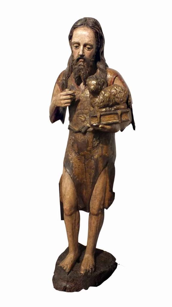 Polychrome Carved Wood Figure St John Baptist