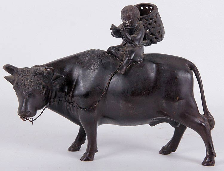 Bronze Figure Boy Riding Ox