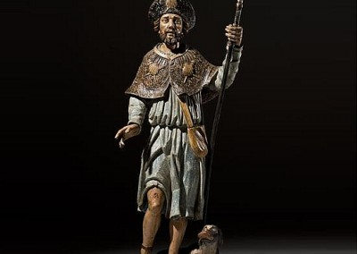 Large Polychrome Figure St. Roch