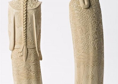 MASSIVE EMPERORS IVORY CARVED TUSKS (1)
