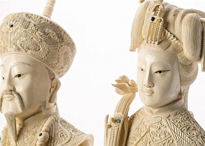 MASSIVE EMPERORS IVORY CARVED TUSKS (3)