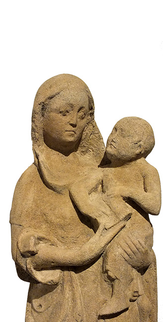 LARGE LIMESTONE GROUP VIRGIN CHILD (2)