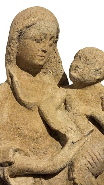 LARGE LIMESTONE GROUP VIRGIN CHILD (3)