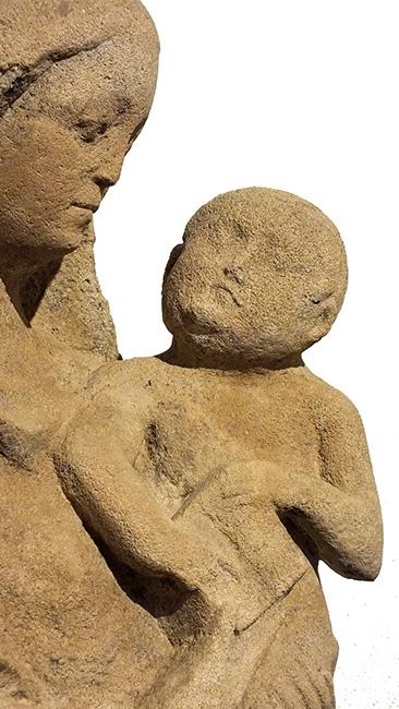 LARGE LIMESTONE GROUP VIRGIN CHILD (4)