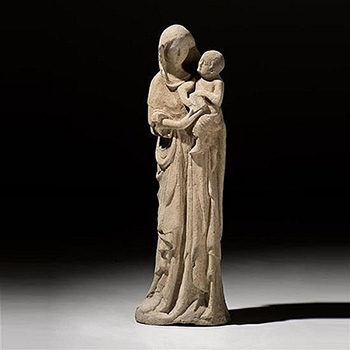 A CARVED LARGE LIMESTONE GROUP OF THE VIRGIN AND CHILD