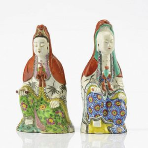 CHINESE FAMILLE ROSE GUANYINS (1)