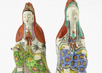 CHINESE FAMILLE ROSE GUANYINS