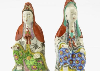 CHINESE FAMILLE ROSE GUANYINS (2)