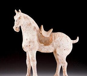 Unusual Pottery Saddled Horse