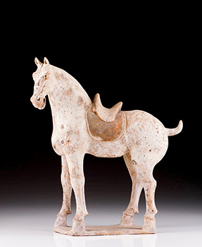 Unusual Pottery Saddled Horse