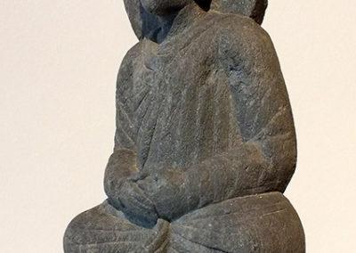 Gray Schist Figure Seated Buddha (3)