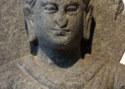 Gray Schist Figure Seated Buddha (5)