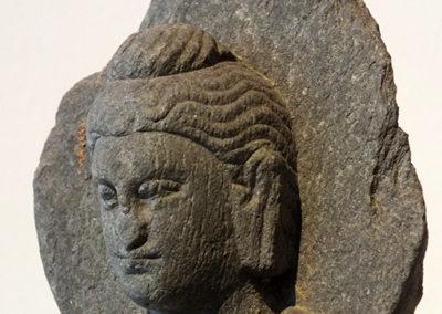 Gray Schist Figure Seated Buddha
