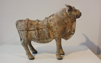 Most Rare Painted Gray Pottery Ox