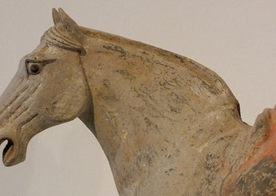 Painted Red Pottery Equestrian Figure (1)