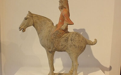Painted Red Pottery Equestrian Figure