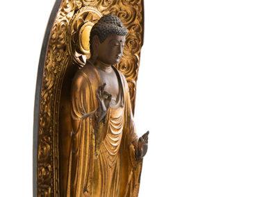 Carved Gilded Wood Standing Amida Buddha (1)