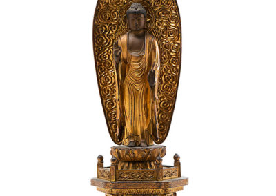Carved Gilded Wood Standing Amida Buddha (2)