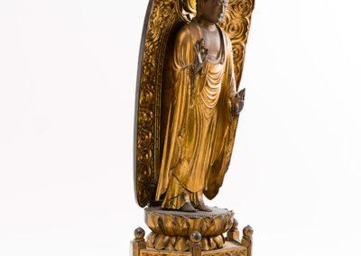 Carved Gilded Wood Standing Amida Buddha (3)