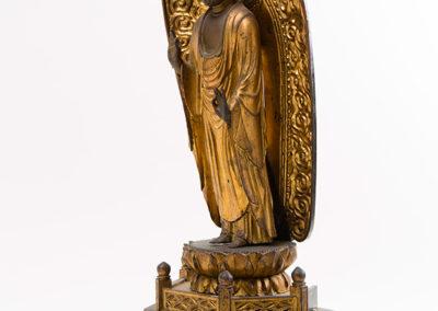 Carved Gilded Wood Standing Amida Buddha (4)