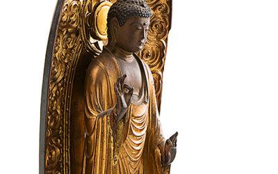 Carved Gilded Wood Standing Amida Buddha