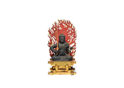 Highly Important Wood Sculpture Fudo Myo-o (Acala) (1)