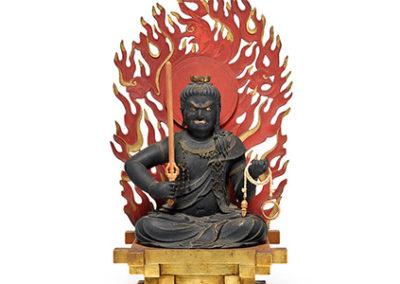 Highly Important Wood Sculpture Fudo Myo-o (Acala)