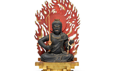 Highly Important Wood Sculpture Fudo Myo-o (Acala)