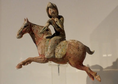 Painted Red Pottery Female Polo Player Astride a Galloping Horse (1)