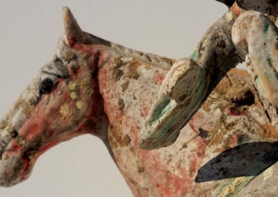 Painted Red Pottery Female Polo Player Astride a Galloping Horse (10)
