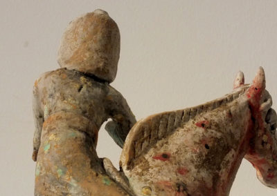 Painted Red Pottery Female Polo Player Astride a Galloping Horse (14)
