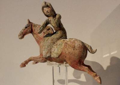 Painted Red Pottery Female Polo Player Astride a Galloping Horse (2)