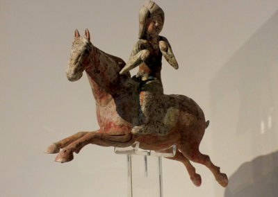 Painted Red Pottery Female Polo Player Astride a Galloping Horse (3)