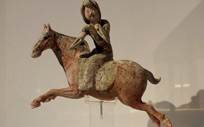 Painted Red Pottery Female Polo Player Astride a Galloping Horse