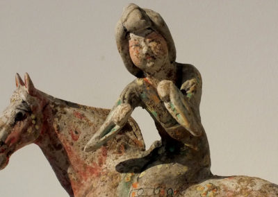 Painted Red Pottery Female Polo Player Astride a Galloping Horse (4)