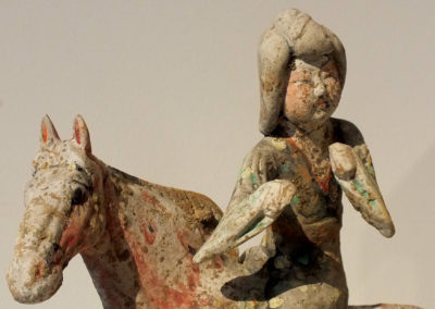 Painted Red Pottery Female Polo Player Astride a Galloping Horse (5)